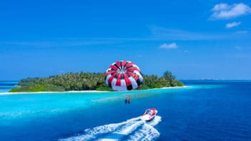 Parasailing in the Maldives